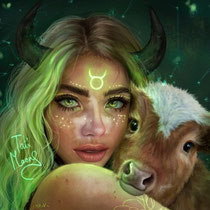 Taurus painting by @tatimoons on Instagram