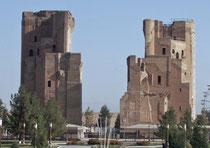 Shahrisabz : pylônes d'entrée de l'Ak Saray (face sud) vu depuis les jardins (A.Billard, 2008)