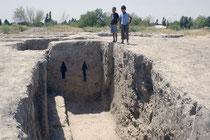 Vestige d'un mur du site archéologique de Sangirtepa (IVème s av J.C.) (photo : Musée de Shahrisabz, 2008)