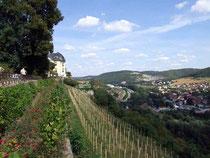 Weit ins Saaletal geht der Blick vom Schloßpark in Dornburg