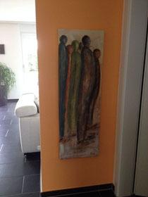 Acrylcollage, Bild an der Wand, Menschen, cmcolorart