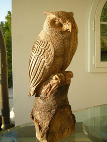 Schnitzerei Holzfigur Bildhauerei Uhu Eule Paul Widmer
