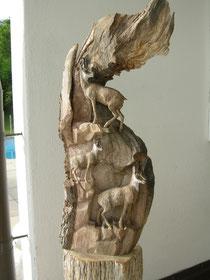 Gemse Gämse Schnitzerei Holzskulptur