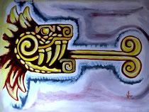 Quetzalcoatl, Gouache sobre carton Barcelona 2009