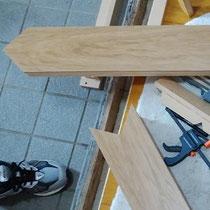 ナラ上がり框 2分割し、設置後に再接合して納めました。