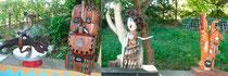 4 sculptures sous l'auvent de la terrasse