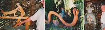 scène d'amour : la jambe de l'homme est mobile entraînant le mouvement du phallus/ la femme-serpent/ sculpture-autel à l'intérieur d'une tonnelle en ceps de vigne