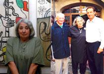 Cérès Franco à l'exposition des Ulis et devant son musée avec Jean-Marie Martin et Michel Smolec