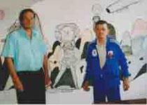 michel smolec et andré robillard devant une fusée