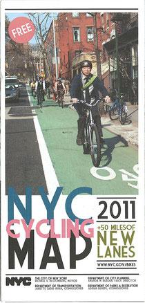 ニューヨーク市が無料で配布している自転車用のマップ