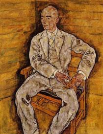 Victor Bauer porträtiert durch Egon Schiele. Beim klick auf das Bild mehr über die Familie Bauer aus der Chronik des Schlosses Kunewald