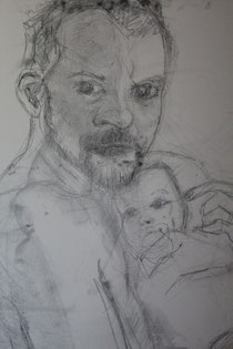 Vater und Kind heißt die Zeichnung von Janina Kaufmann. Foto: Konder