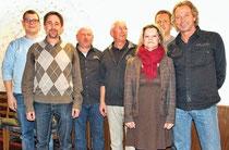 Der neue Vorstand der IPA Main-Tauber (v.l.) Christian Schuster (Sekretär), Markus Glock (Verbindungsstellenleiter), Uli Mohr (Sekretär) und Schatzmeister Otto Neckermann, mit den ehemaligen Sekretären Kutschka, Gaier sowie dem ehem. VbstL Bundschuh.