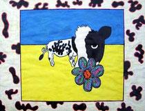 Une vache à la plage - 2003-  50x65cm  Techniques: Acrylique, crayons feutres, marqueurs.