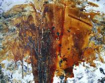 Eruption  -2005-  50x65cm  Techniques: Acrylique, Vernis à parquet.