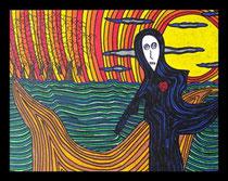 """""""L'inconnu"""" -2007- 32x26cm Techniques: Crayon posca, Pastel sec, encre de chine."""
