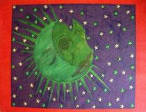 La lune  -2003-  50x65cm  Techniques: Marqueurs, photo magazine, étoiles, peinture acrylique.