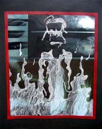 Fantôme de l'hôpital - 2003 -  50x65cm  Techniques: Radiographies, gouache, marqueur, scotch rouge.