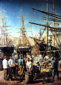 Débarquement de denrées sur le port de Marseille, Alphonse Moutte - 1876