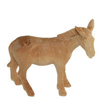 Bild Krippenfigur Esel hangeschnitzt aus Zirbenholz