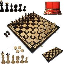 Bild Schach mit Dame aus Holz Nr. 165
