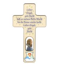 """Bild Kinder-Gebetzskreuze """"Lieber Engel gute Nacht"""" Nr. K504 aus Holz"""