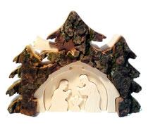 Bild 3D Rindenkrippe aus Holz