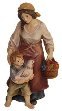 Bild Krippenfigur Joshua Hirtin mit Kind und Henne aus Ahornholz geschnitzt