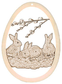 Bild Osterhasen und Kücken aus Holz