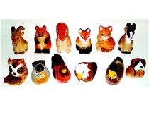 Bild Tiere gemischt 651182m handgeschnitzt aus Holz