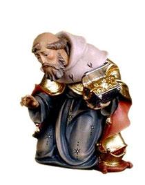 Bild Krippenfigur Thomas König kniend aus Ahornholz geschnitzt