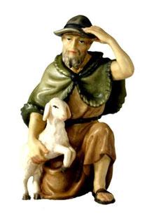 Bild Krippenfigur Joshua Hirte kniend mit Schaf aus Ahornholz geschnitzt