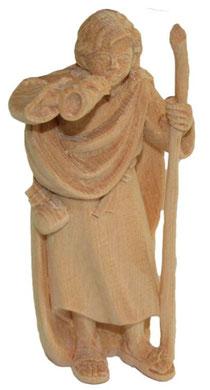 Bild Krippenfigur Hirt stehend mit Horn handgeschnitzt aus Zirbenholz