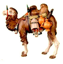 Bild Krippenfigur Thomas Kamel mit Gepäck aus Ahornholz geschnitzt