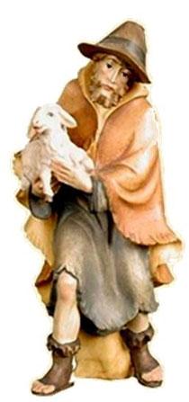 Bild Krippenfigur Thomas Hirt mit Lamm im Arm aus Ahornholz geschnitzt
