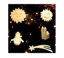 Bild Baumschmuck Sonne, Schneemann, Kirche, Kometstern aus Holz