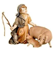 Bild Krippenfigur Thomas Schweinehirtin aus Ahornholz geschnitzt