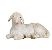 Bild Krippentier Schaf liegend aus Ahornholz geschnitzt