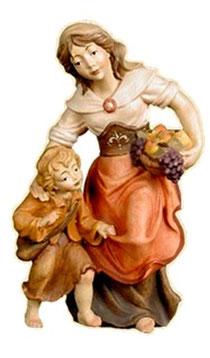 Bild Krippenfigur Thomas Mutter mit Kind aus Ahornholz geschnitzt