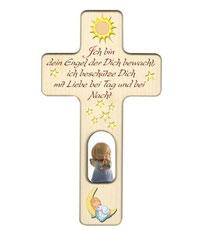 "Bild Kinder-Gebetskreuz ""Er begleitet"" aus Holz"