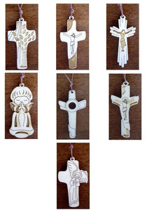 Bild Halskette Laserkreuzchen aus Holz