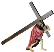 Bild Passionskrippe Jesus der das Kreuz trägt Nr. 13xx05 aus Ahornholz geschnitzt