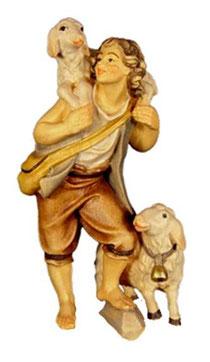 Bild Krippenfigur Thomas Hirte mit Schafen aus Ahornholz geschnitzt