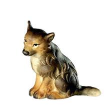 Bild Wolfswelpe sitzend Nr. 1055 aus Ahornholz geschnitzt