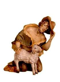 Bild Krippenfigur Thomas Hirt kniend mit Schaf aus Ahornholz geschnitzt