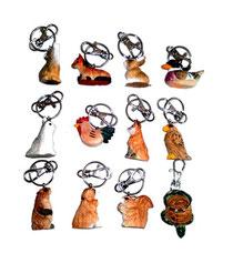 Bild Schlüsselanhänger Tiere gemischt 651075 handgeschnitzt aus Holz