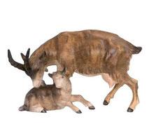 Bild Krippenfigur Ziege mit Kitz handgeschnitzt aus Zirbenholz