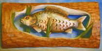 Bild Holzfigur Relief Karpfen handgeschnitzt