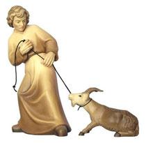 Bild Krippenfigur Mirja Hirt mit starrköpfigen Ziege aus Ahornholz geschnitzt