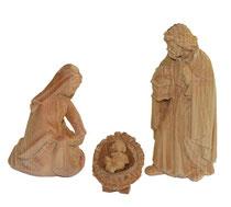 Bild Krippenfiguren Hl. Familie handgeschnitzt aus Zirbenholz